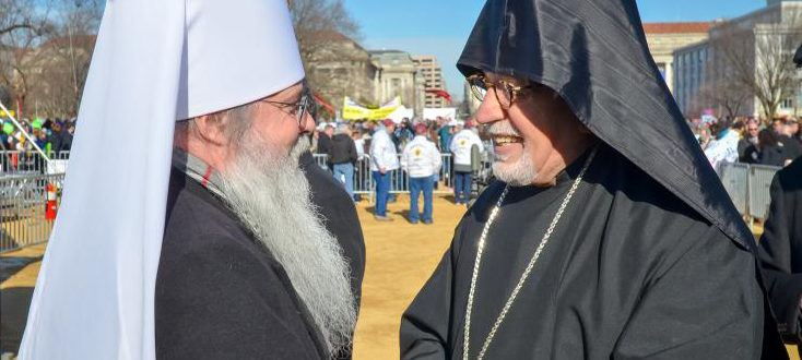 Archbishop Vicken Aykazian at March for Life in Washington DC